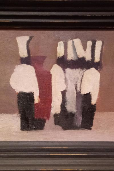 Image: 36. Discussions Amongst Chefs, oil on wood board, 13.8 x 21.5cm, £450