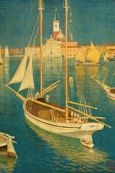 Image: Southall Joseph Edward, 'San Georgia, Venice', gouache/tempera/silk, 1927. Adopted by Rose Southall