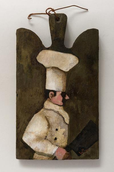 Image: Visitation of the Cook, oil on wood chopping block, 36 x 21 cm, £950