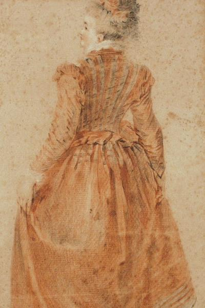 Image: Style of Watteau Antoine, 'Study of a Lady', graphite and pencil, early 18th century. Adopted by Richard Kemp in memory of his wife, Susanna (F)