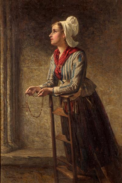 Image: Weatherhead William Harris, 'La Priere d'une Vierge (Brittany peasant girl), oil on canvas, 1877