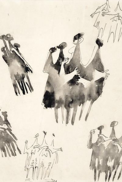 Image: 'People in the Wind' sketches by Kenneth Armitage