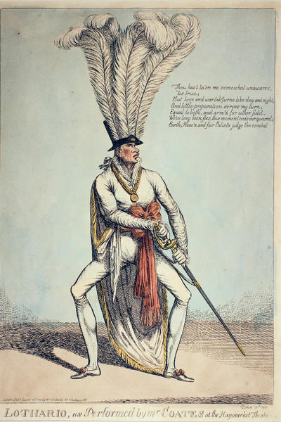 Image: Lothario, as performed by Mr Coates at the Haymarket Theatre, by unknown artist