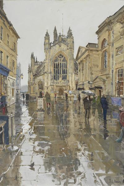 Image: Peter Brown, Pigeons in the Rain, Abbey Courtyard 2016, oil on canvas (detail)
