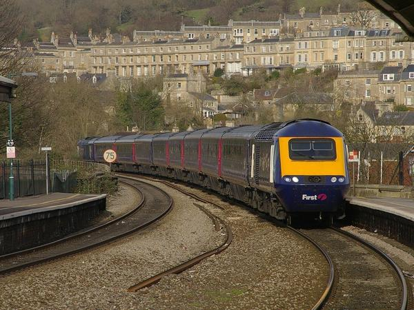 Image: A train arriving at Bath Spa station