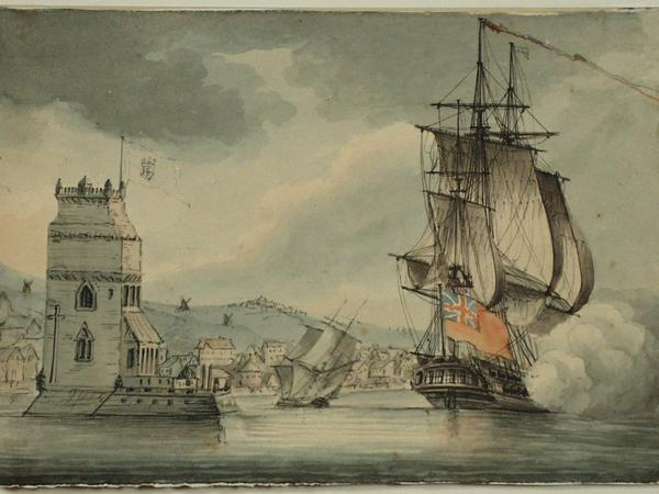 Image: A British Man-o-War in Harbour in the Tagus, Portugal, Nicholas Pocock, 1809